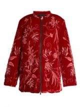 BY WALID Samia floral-embroidered silk-velvet jacket ~ luxe red jackets