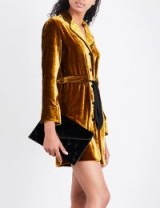 SANDRO Belted ochre velvet dress