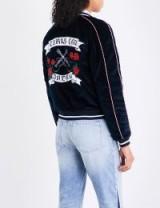 SANDRO Embroidered reversible velvet jacket | navy-blue 'GIRLS CAN DREAM' slogan bomber jackets