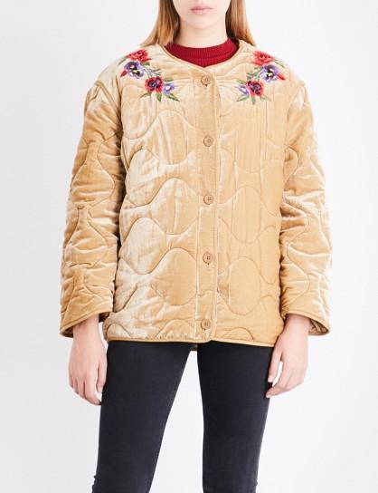 SANDRO Floral-embroidered velvet jacket / beige jackets