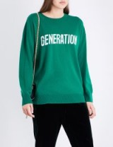 SANDRO Generation wool and cashmere-blend jumper / green slogan jumpers