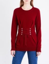 SANDRO Lace-up front wool and cashmere-blend jumper ~ garnet-red corset jumpers
