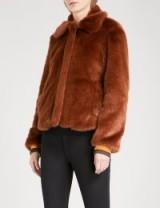 SANDRO Striped-trim faux-fur jacket / brown winter jackets