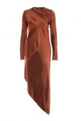 TOPSHOP Satin Spiral Shift Dress by Boutique – chocolate-brown asymmetric dresses