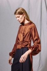 Topshop Satin Tuck Blouse by Boutique | silky chocolate-brown blouses