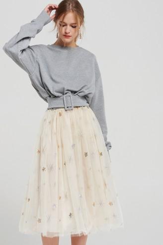 STORETS Selena Mesh Star Embroidered Skirt | beige tulle skirts