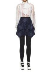 $269.00 Self Portrait 3d Floral Mesh Skirt Navy