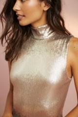 Floreat Sequin High Neck Bodysuit / gold shimmer sleeveless bodysuits