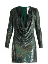 ASHISH Sequin-embellished draped-front silk mini dress ~ green sequined cowl neck dresses