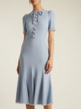 DOLCE & GABBANA Short-sleeved fluted-hem cady dress ~ powder-blue dresses