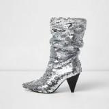 River Island Silver sequin cone heel boots