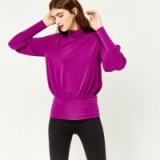 Warehouse SLINKY RUCHED POLO TOP | purple tops