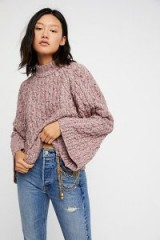Free People Snow Bird Pullover in Deep Berry Heather | wide sleeve cable knit sweaters