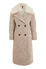 Topshop Speckled Coat / faux fur collar coats