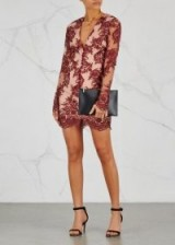 FINDERS KEEPERS Spectral embroidered mini dress ~ burgundy and rose tulle dresses
