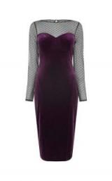 OASIS SPOT MESH VELVET MIDI / purple party dresses / luxe style evening fashion