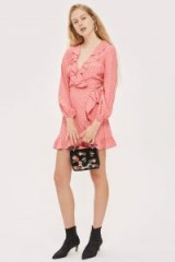Topshop Spotted Ruffle Wrap Tea Dress | romantic pink ruffled dresses