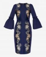 TED BAKER JEEANE Stardust flute sleeve midi dress / blue flared cuff dresses