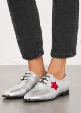 ROGUE MATILDA Starstruck silver leather brogues ~ metallic-silver lace ups