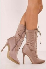 IN THE STYLE STASSI NUDE LACE UP HEELED SOCK BOOTS