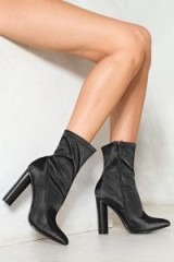 Nasty Gal Step Forward Satin Boot – black block heel ankle boots