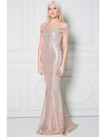 Stephanie Pratt Champagne Bardot Sequin Maxi Dress with Bow Detail – sequinned off the shoulder evening dresses – statement occasion gowns