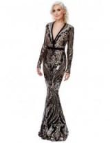 Stephanie Pratt – Deep V Neck Sequin Embroidered Maxi Dress – Champagne