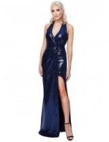 Stephanie Pratt Halter Neck Sequin Maxi Dress with Split Detail in Navy – glamorous halterneck dresses