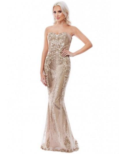 Stephanie Pratt Gold Sweetheart Neckline Sequin Embroidered Maxi Dress – glamorous strapless evening dresses