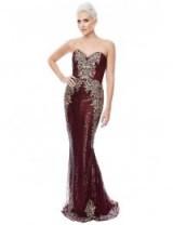 Stephanie Pratt Sweetheart Neckline Sequin Embroidered Maxi Dress in Wine – glamorous dark red occasion dresses – evening glamour
