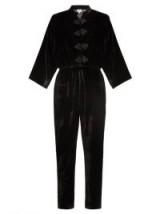 RHODE RESORT Stevie tie-waist velvet jumpsuit ~ black mandarin collar jumpsuits ~ luxe style