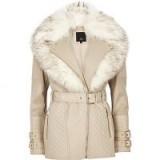 River Island stone faux fur collar belted biker jacket ~ faux leather fluffy collard jackets ~ winter style
