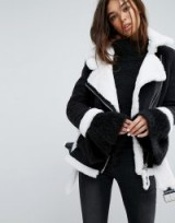 Story Of Lola Faux Shearling Jacket With Contrast Seams – monochrome winter jackets