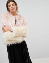 Stradivarius Faux Fur Jacket / shaggy pink ombre jackets
