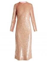 ASHISH Striped sequin-embellished midi dress ~ pink dresses