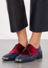 ROGUE MATILDA Superstar python-effect leather brogues ~ burgundy and blue flat lace up shoes