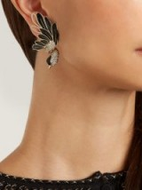LANVIN Swan asymmetric clip-on earrings ~ single statement jewellery