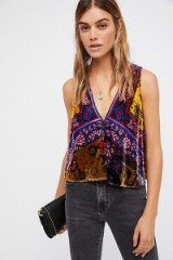 Free People Myrna Tunic | sleeveless V-neck mix print velvet tops