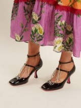 GUCCI Taide crystal-embellished patent-leather pumps ~ beautiful statement shoes ~ vintage style footwear