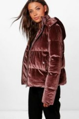 boohoo Tall Daniella Velvet Padded Bomber Jacket – mocha-brown jackets