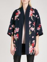 TED BAKER Aurian bird and blossom-embroidered jersey kimono | navy blue oriental style floral jackets