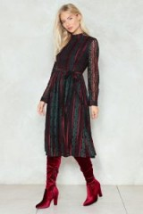 Nasty Gal Tell It to Their Lace Midi Dress ~ green long sleeve, high neck dresses