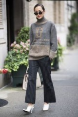 Chunky sweater and pinstripe trousers…this actually works! – stylish looks – women with style
