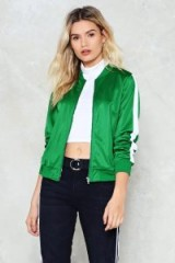 Nasty Gal The Strong and Silent Stripe Bomber Jacket ~ green satin jackets