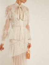 ELIE SAAB Tie-neck lace and tulle blouse ~ semi sheer ivory blouses