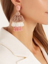 OSCAR DE LA RENTA Tiered tassel-drop clip-on earrings ~ tasseled statement jewellery