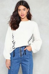 NASTY GAL Ties the Limit Chunky Sweater | cream lace up detail sweaters | slouchy jumpers