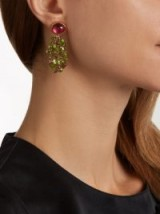 BRIGID BLANCO Tourmaline, peridot & yellow-gold cluster drop earrings ~ statement jewellery