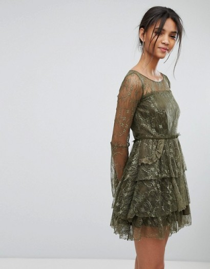 Tresophie Lace Tiered Dress / green semi sheer floral dresses