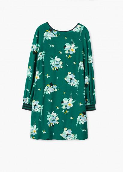Mango Trim floral dress / green flower print dresses